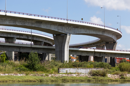 brige: bridge on river in european city Lisbon