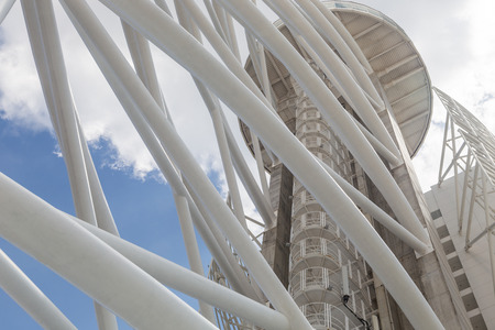 building structure: abstract architecture building with metal tubes Stock Photo