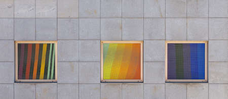 colored window: reflection colored tiles in window on wall