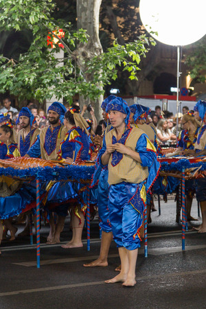 districts: LISBON, PORTUGAL - 12 june 2016, night parade Marchas Populares, carnaval districts of city