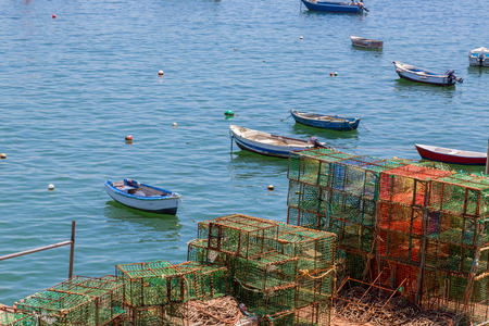 traps: heap square green crab traps in marine