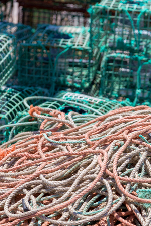 lobster pot: heap square green crab traps in marine