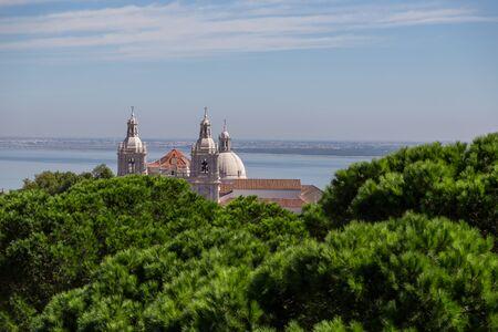 view on Igreja de Sao Vicente de Fora e Panteao Nacional from Castelo de Sao Jorge. historic attractions of city Lisbon Stock Photo