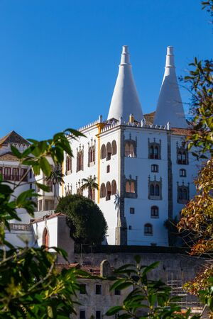 view on national museum palace sintra with wight conus pipes