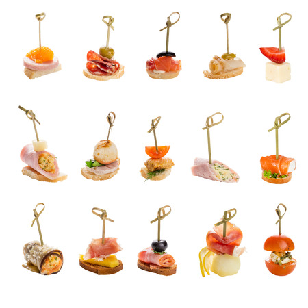 set of a different snacks for catering service. isolated on white backgound