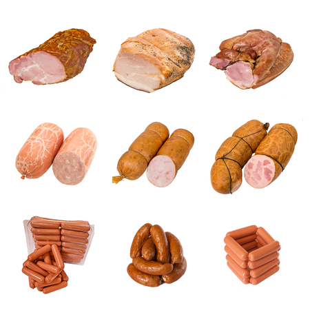 set of a different meat products. isolated on white backgound