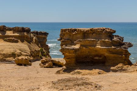 rocks nature form after erosion on ocean coastline