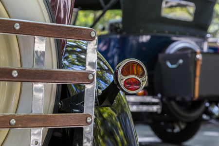 custom car: Details reto car show on street of the city. european and american old classic automobiles