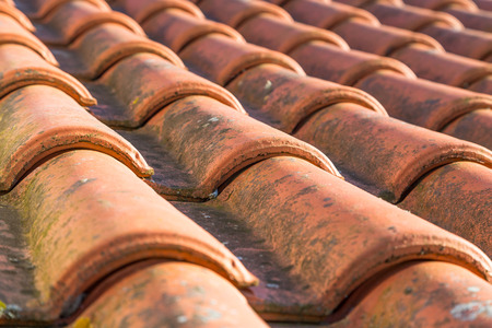 closeup orange roof tile