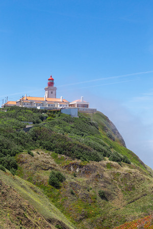 the Western point of continental Europe on the Atlantic ocean. Cabo da Roca summer in the fog