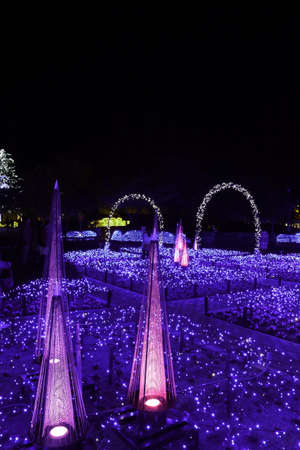 ie: IE Prefecture, Japan-Oct 31, 2015: It is the illuminations of Nabana no Sato is in Kuwana, Mie Prefecture
