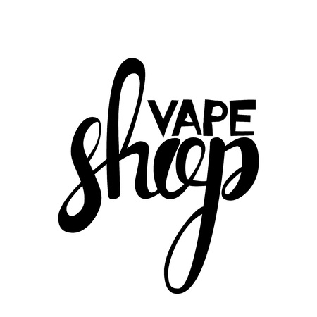 Vape shop lettering logo. Hand drawn inscription isolated on white background. Vector illustration Ilustração