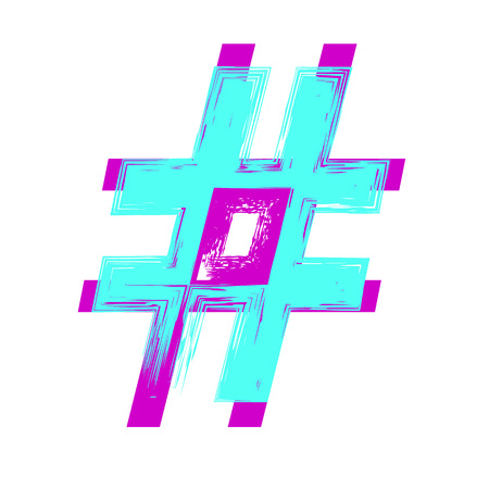 Hashtag sign. Bright symbol on white background. Vector illustration