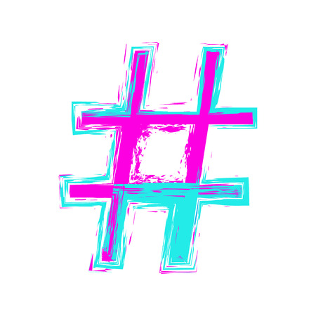 Hashtag sign isolated on white background. Pop-art style. Vector illustration