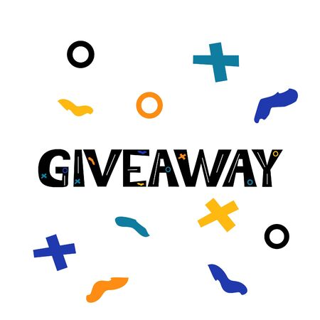 Giveaway card with abstract simple shapes on white background. Vector illustration.