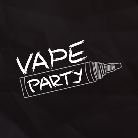 Vape party card on dark crumbled paper background.  Vector illustration.