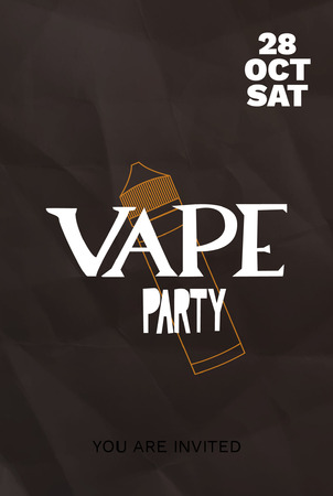 Vape party invitation card with hand drawn lettering on dark crumbled paper background.  Vector illustration.