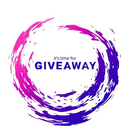 Giveaway card with abstract colorful round frame. Vector illustration.