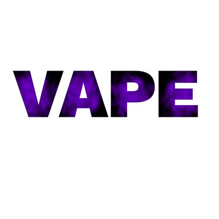Vape banner Text with color vapor texture on white background. Vector illustration.