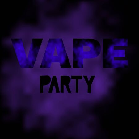 Vape party text with vapor texture.  Vector illustration. Ilustração