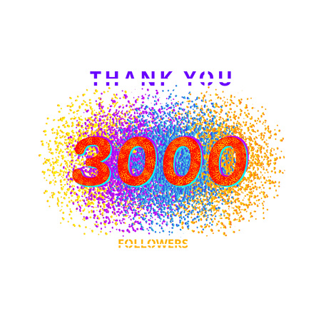3000 followers card. Thank you 3K followers banner with frame on white  background. Simple vector illustration. Illustration