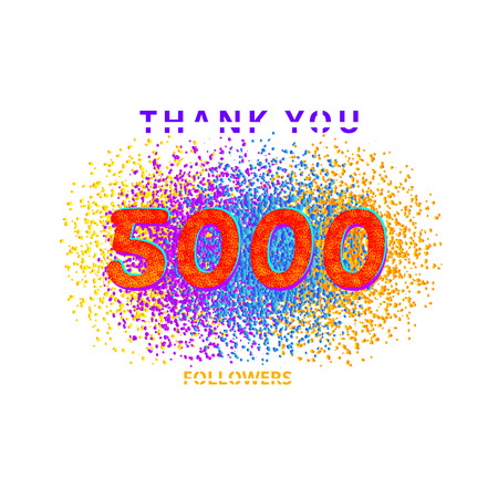 5000 followers card. Thank you 5K followers banner with frame on white  background. Simple vector illustration.
