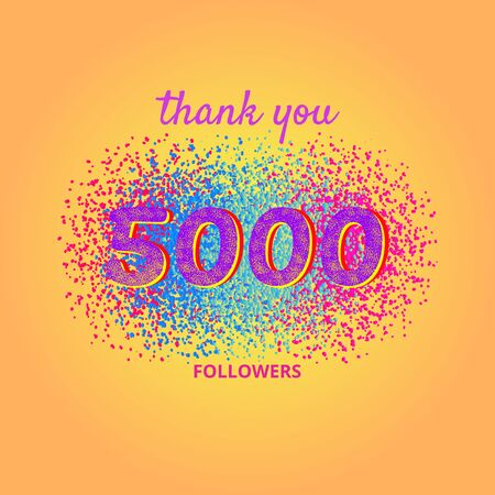 5000 followers card. Thank you 5K followers banner with frame on bright  background. Simple vector illustration.