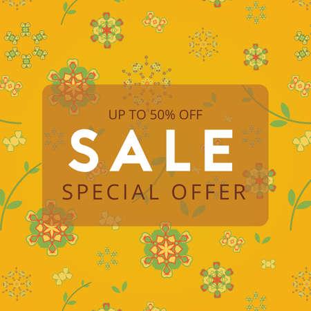 Sale banner on color floral pattern background. Special offer. Vector illustration
