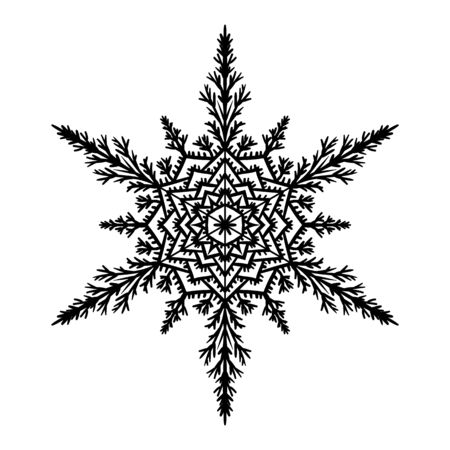 Silhouette snowflake on white background. Vector illustration. Ilustração