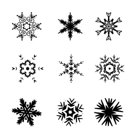 Set of simple snowflakes silhouette.  Vector illustration  isolated on white background. Ilustração