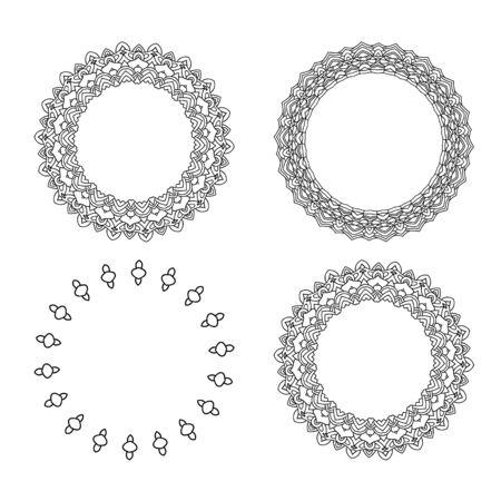 Ensemble de bordures décoratives rondes. Illustration vectorielle