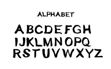 Set of doodle handwritten letters for inscriptions. Vector illustration of an alphabet. Illustration