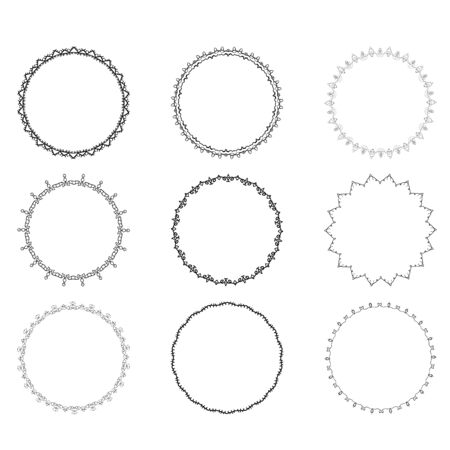 Set of round decorative borders. Vector illustration.
