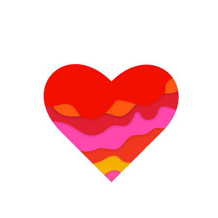 Heart with 3D papercut pattern. Multi layers effect. Design elements for Valentines day. Vector illustration Illustration