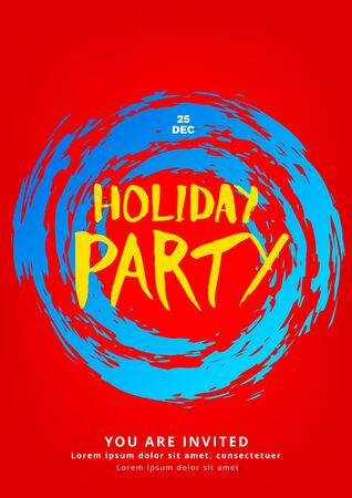 Holiday party poster template. Christmas elements for card. Vector illustration Illustration