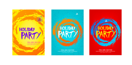 Holiday party set poster template.  Background for card and flyer. Vector illustration