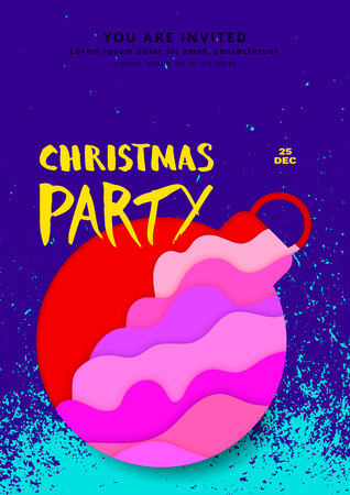 Holiday party poster template. Christmas elements for card. Vector illustration Ilustrace