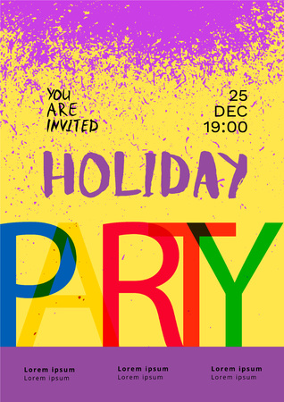 Holiday Party Poster Template.  Elements  for Graphic Design - Banner, Poster, Flyer, Brochure, Card. Vector illustration.