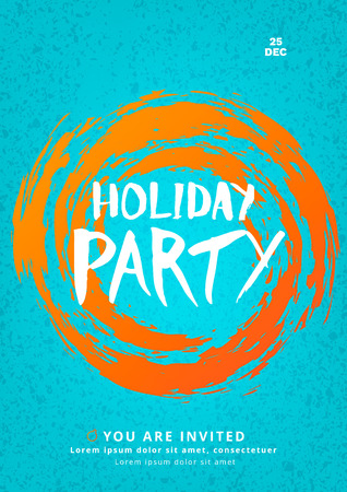 Holiday party poster template. Christmas elements for card illustration.