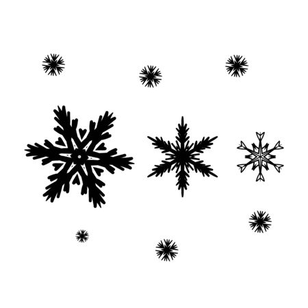 Silhouette snowflakes set. Vector illustration.
