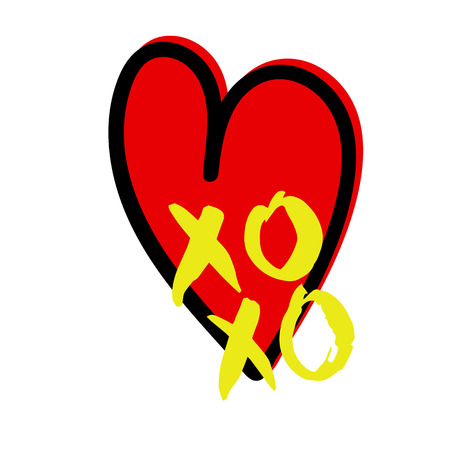 XO XO hand drawn lettering. Vector illustration isolated on white  background with heart frame.