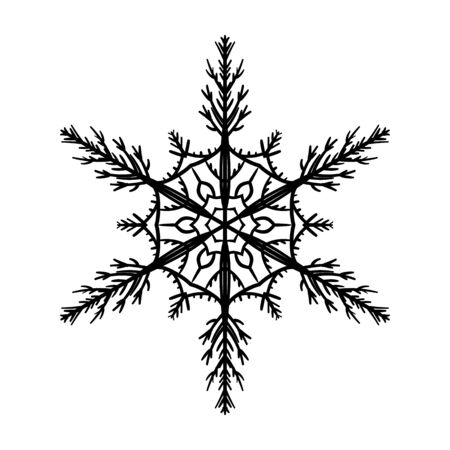 Silhouette snow-flake on white background. Vector illustration.