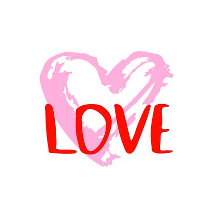 Liefdetekst met hartvorm op witte achtergrond wordt geïsoleerd die. Hand getrokken ontwerpelementen. Vector illustratie