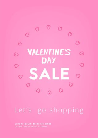 Happy Valentine's Day Sale. Template for Graphic Design - Banner, Poster, Flyer, Brochure, Card. Vector Illustration.