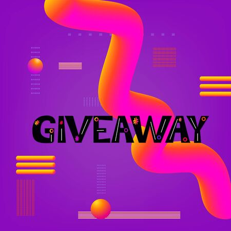 Giveaway text on colorful background.  Abstract  curvy liquid style. Element for social media and blog post, banner, poster, flyer, card. Trendy minimal design. Vector illustration Çizim