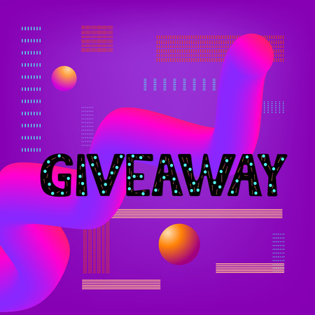 Giveaway text on colorful background.  Abstract  curvy liquid style. Element for social media and blog post, banner, poster, flyer, card. Trendy minimal design. Vector illustration Illustration