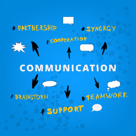 Communication infographic. Phrases on colorful background. Template for graphic design — banner, poster, flyer, brochure, card. Vector illustration.