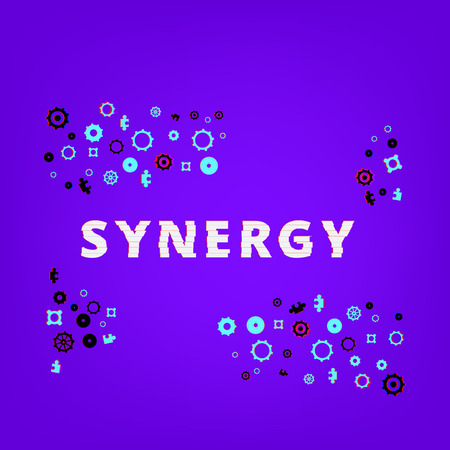 Synergy text on purple background with gears and puzzles shapes. Distorted glitch style effect. Element for graphic design — banner, poster, flyer, brochure, card, blog. Vector illustration.