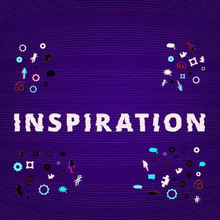 Inspiration text on dark background with gears and puzzles shapes. Distorted glitch style effect. Element for graphic design — banner, poster, flyer, brochure, card, blog. Vector illustration.