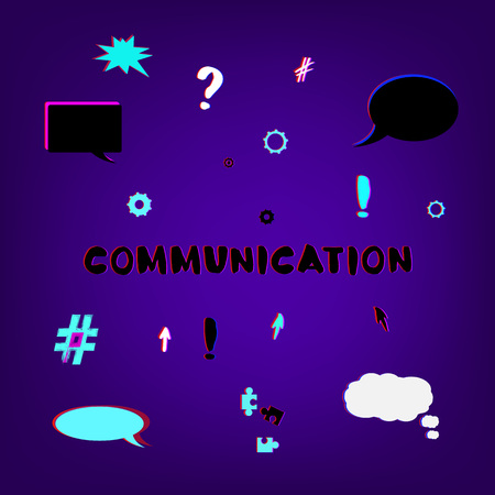 Communication handwritten phrase. Trendy cover with empty bubbles shapes. Template for graphic design — banner, poster, flyer, brochure, card. Vector illustration.